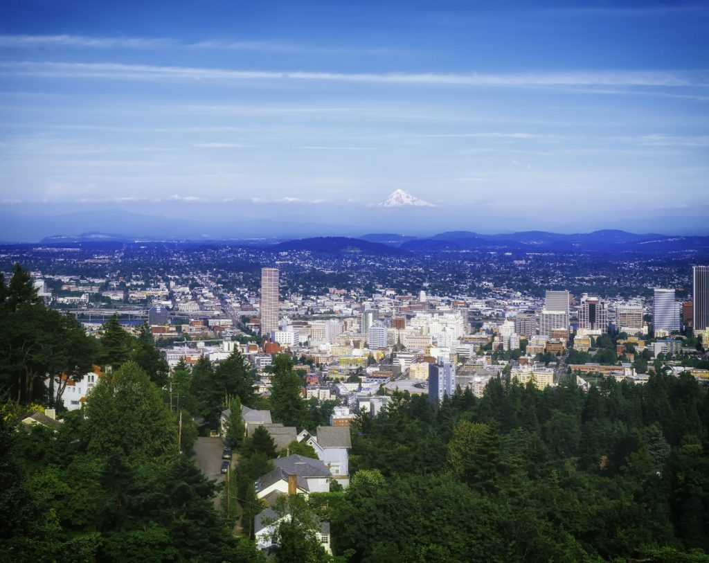 Mount Hood towers over downtown Portland, Oregon where trees give way to high rises.